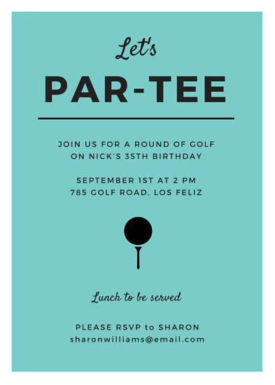 Turquoise Golf Party Invitation  Templates by Canva