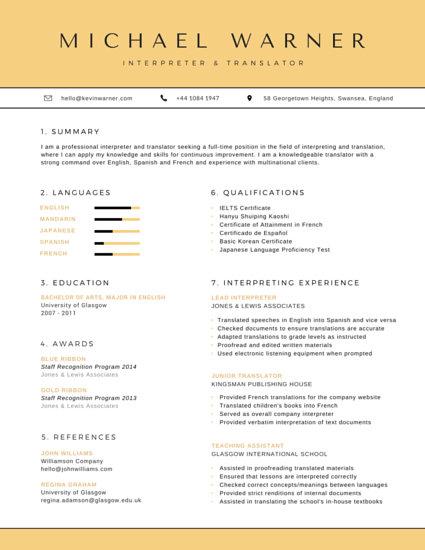 resume for spanish interpreter