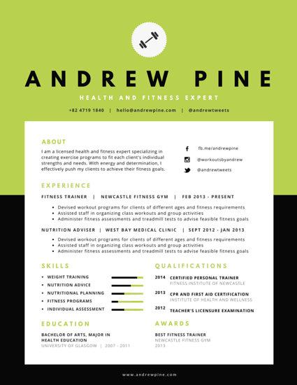 fitness professional resume templates