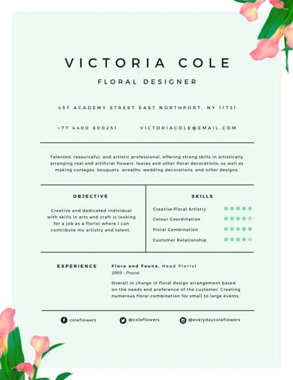 floral designer sample resume