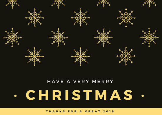 Black And Gold Snowflakes Christmas Art Card Templates