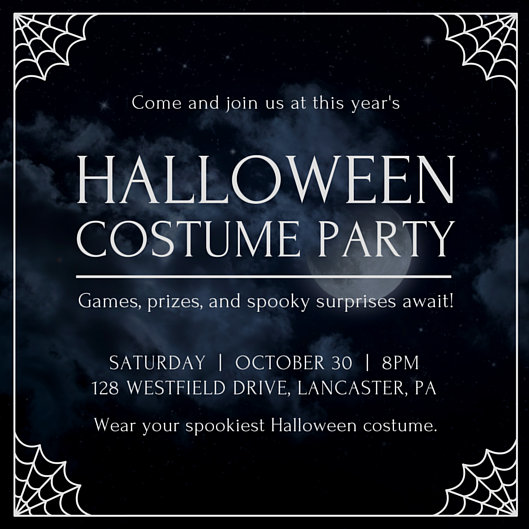 Cobweb Border Halloween Party Invitation Templates By Canva
