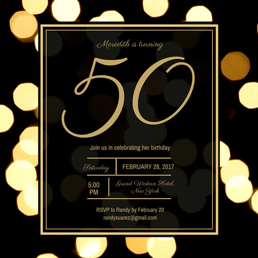 Golden 50th Birthday Invitation Templates By Canva