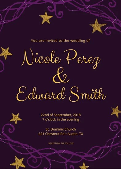 Purple and Gold Wedding Invitation  Templates by Canva