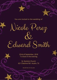 Purple and Gold Wedding Invitation - Templates by Canva