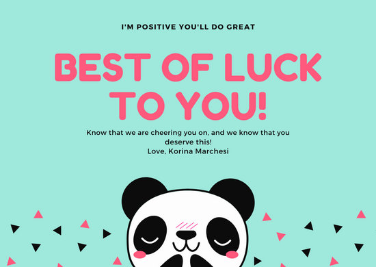 Blue Illustrated Panda Good Luck Card Templates By Canva