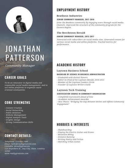 template cv community manager