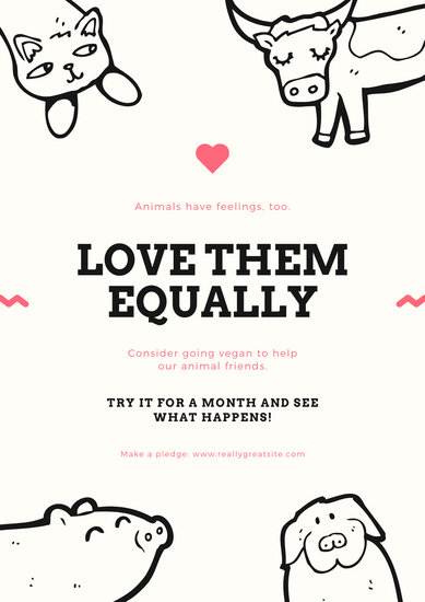 Pink Animals Art Vegan Poster Stock Illustration