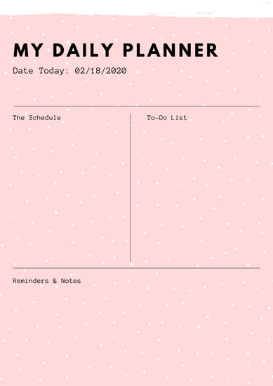 Pale Pink And Black Minimalist Daily Planner Templates By Canva