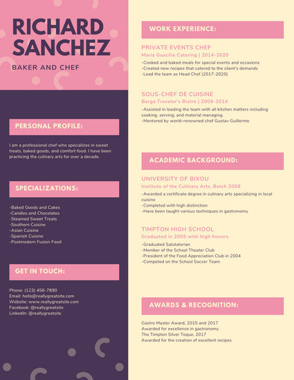 Pink Pattern Creative Resume  Templates by Canva