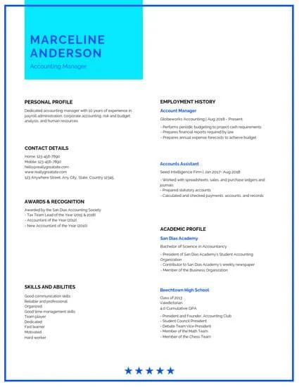 free templates for resumes online