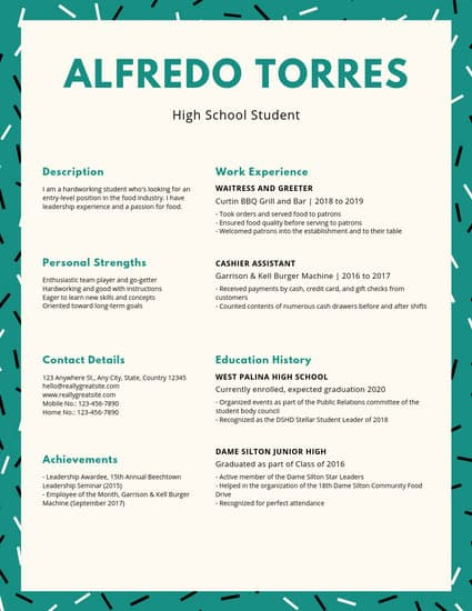 Customize 20 High School Resume Templates Online - Resume