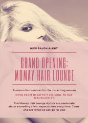 purple and pink hair salon flyer