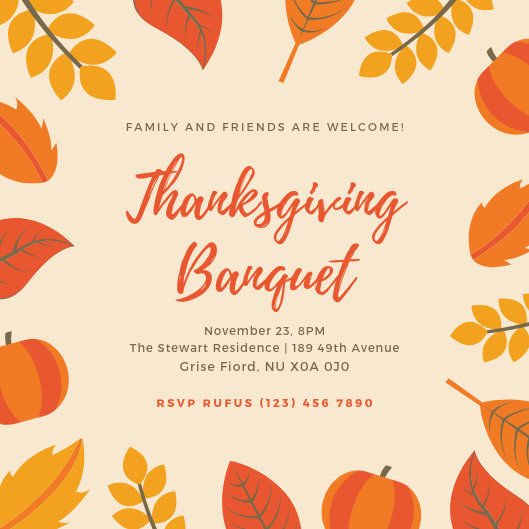 Customize 93 Thanksgiving Invitation Templates Online