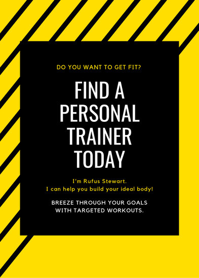 Yellow And Black Lines Personal Trainer Flyer Templates