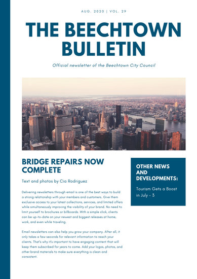 Dark Blue and White Simple Modern Newsletter  Templates