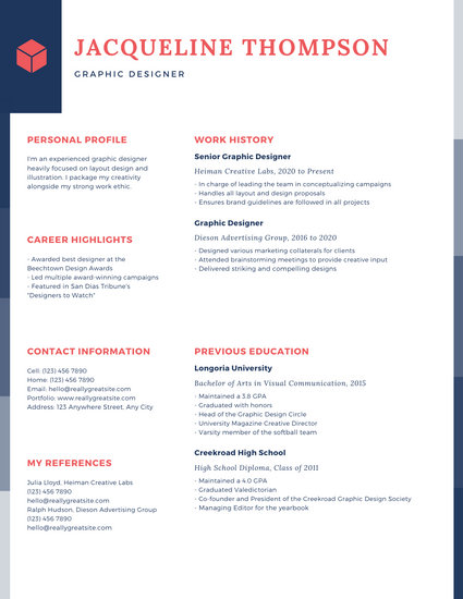 resume layout design sample