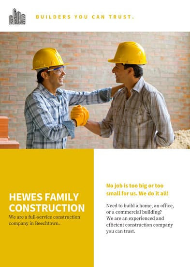 yellow collage construction flyer