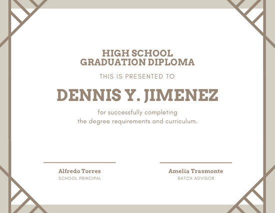highschool diploma template