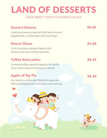 customize 61 dessert menu templates online