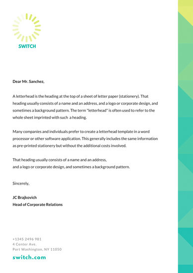 simple letterhead template word