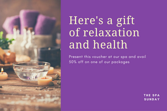 Purple with Photo Massage Gift Certificate  Templates by