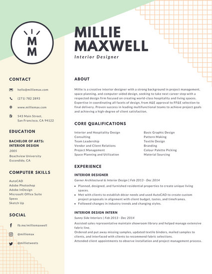 Pastel Green And Yellow Interior Designer Modern Resume Templates