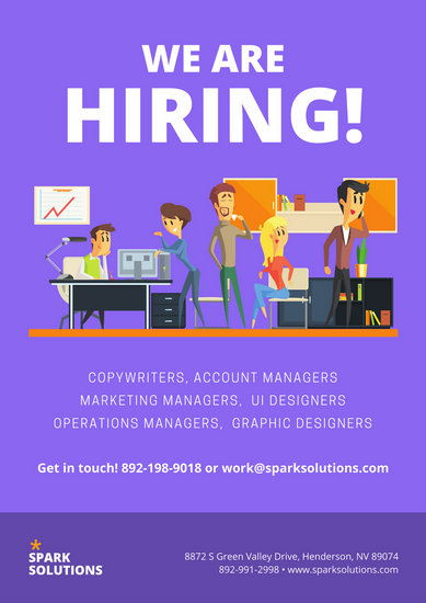Purple Office Illustration Recruitment Business Poster