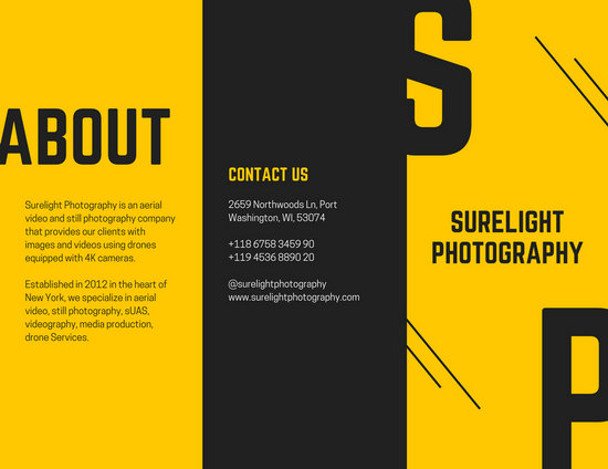 Yellow Black Photography Brochure Templates By Canva