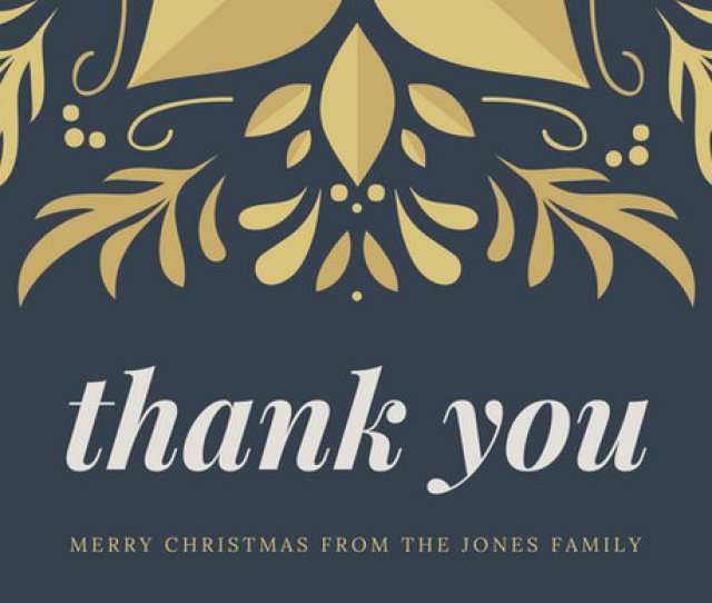 Gold Christmas Thank You Card