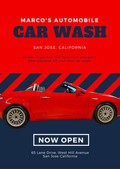 Red Blue Sportscar Masculine Car Wash Flyer Templates By