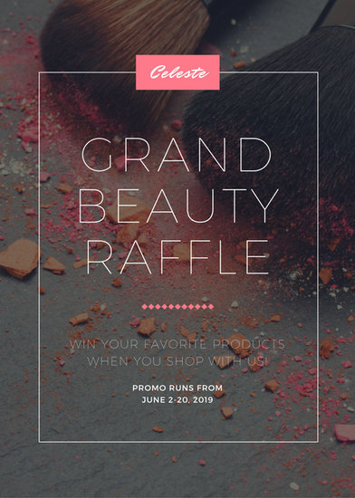 Pink Grey Beauty Makeup Grand Raffle Cosmetics Flyer