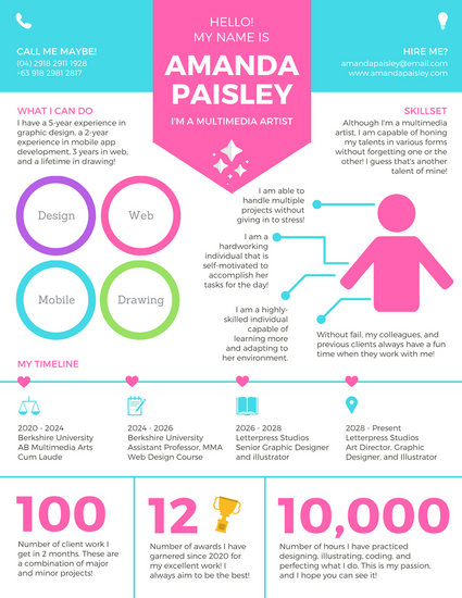 Pastel Modern Icons Infographic Resume Templates By Canva