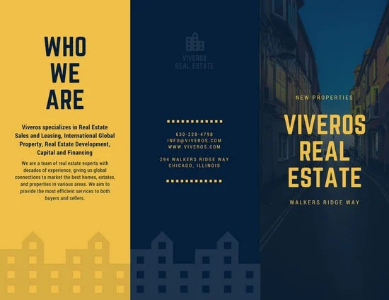 Dark Blue And Yellow Houses Real Estate Tri Fold Brochure