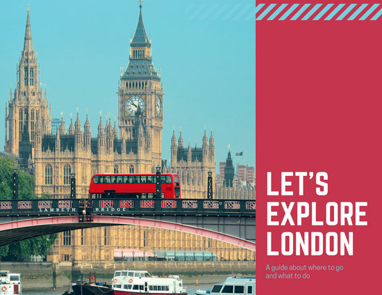Red London Photos Travel Brochure Templates By Canva