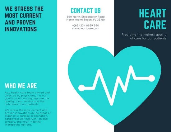 Turquoise Heart Vector Medical Brochure Templates By Canva