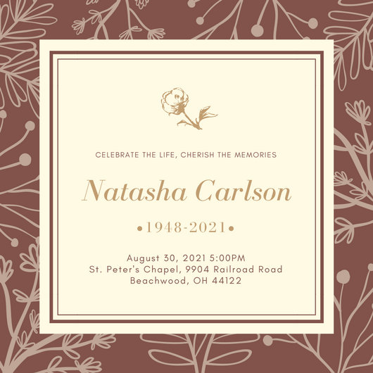 Ilrated Fl Background Funeral Invitation