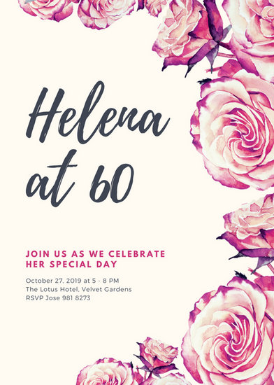 Vintage Roses 60th Birthday Invitation  Templates by Canva