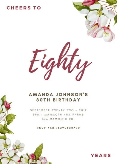 Watercolor Floral Corners 80th Birthday Invitation
