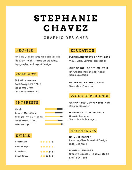 Yellow Graphic Designer Infographic Resume Templates By