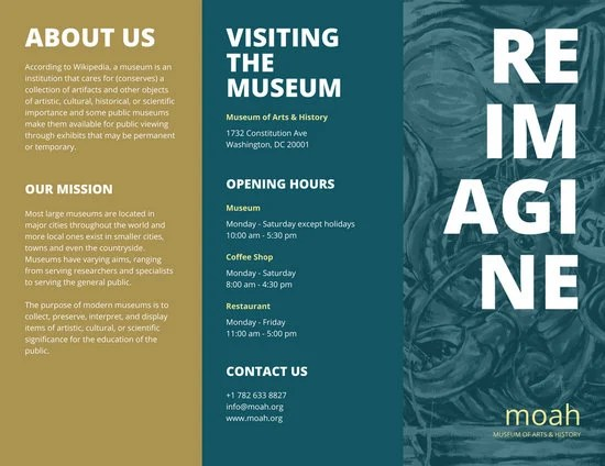 Dark Teal Museum Pamphlet Tri Fold Brochure Templates By Canva
