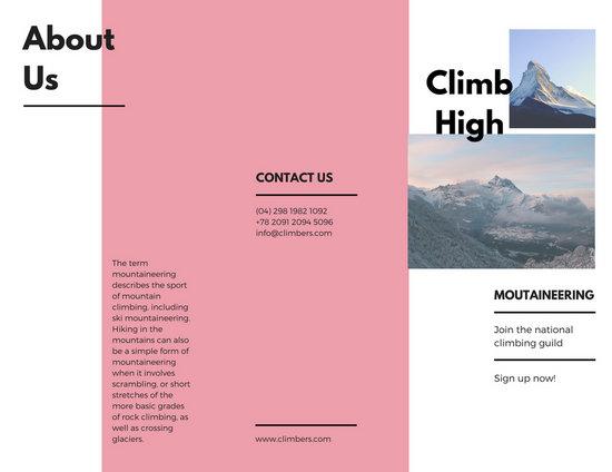 Pink Minimal Travel Modern Pamphlet Trifold Brochure