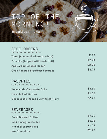 Modern Continental Breakfast Menu  Templates by Canva