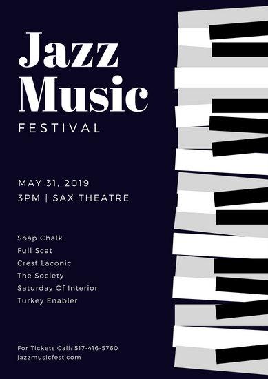 Dark Blue Piano Keys Jazz Poster  Templates by Canva