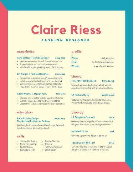 resume artist font