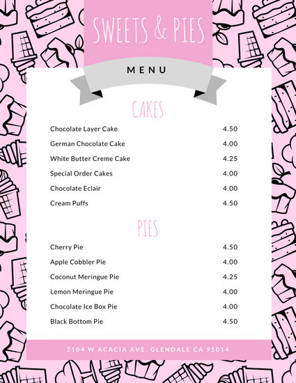 Customize 592 Dessert Menu Templates Online Canva