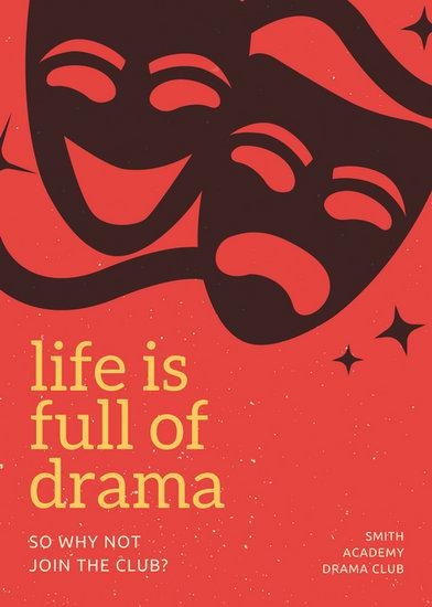 Red Orange Theater Illustrations Drama Club Flyer