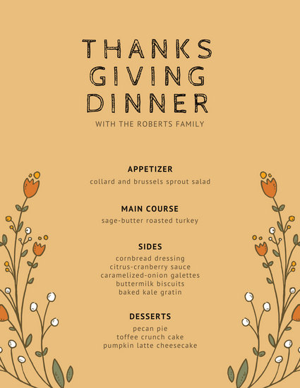 Orange With Flowers Thanksgiving Menu Templates By Canva