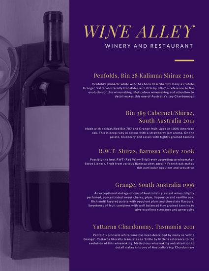 Customize 248 Wine Menu templates online  Canva