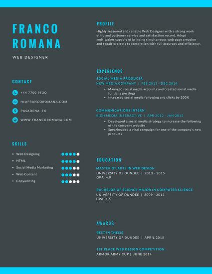 Dark Gray And Blue Minimalist Infographic Resume